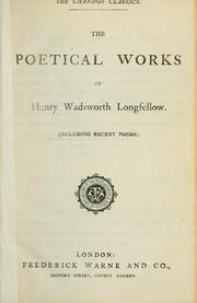 Cover of: The poetical works, including recent poems