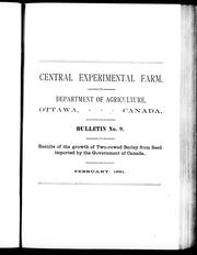 Cover of: Results of the growth of two-rowed barley from seed imported by the government of Canada