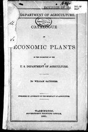 Cover of: Catalogue of economic plants in the collection of the U.S. Department of Agriculture