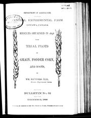 Cover of: Results obtained in 1898 from trial plots of grain, fodder corn, and roots