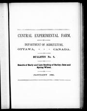 Cover of: Results of early and late seeding of barley, oats and spring wheat