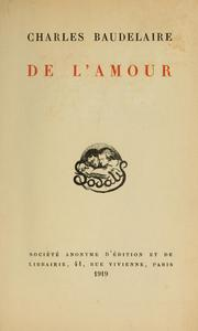 Cover of: De l'amour