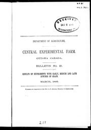 Cover of: Results of experiments with early, medium and late sowings of grain