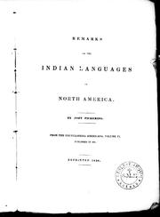 Cover of: Remarks on the Indian languages of North America