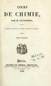 Cover of: Cours de chimie