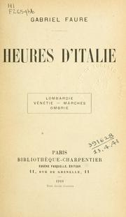 Cover of: Heures d'Italie