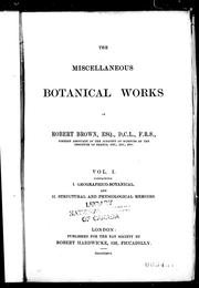 Cover of: The miscellaneous botanical works of Robert Brown