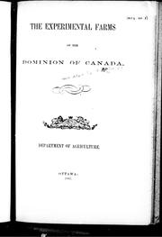 Cover of: The experimental farms of the Dominion of Canada