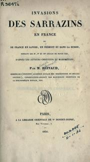Cover of: Invasions des Sarrazins en France
