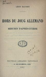 Cover of: Hors du joug allemand