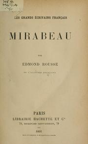 Cover of: Mirabeau.