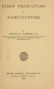 Cover of: First principles of agriculture