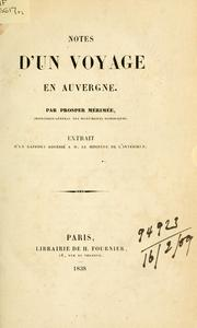 Cover of: Notes d'un voyage en Auvergne.