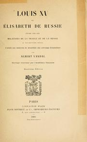 Cover of: Louis XV et Elisabeth de Russie