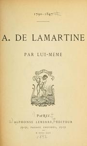 Cover of: A. de Lamartine, 1790-1847
