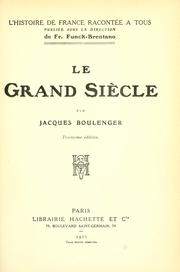 Cover of: Le grand siècle
