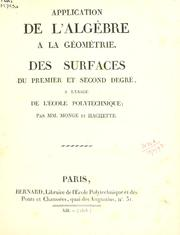 Cover of: Application de l'algèbre a la géométrie