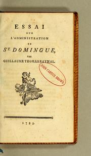 Cover of: Essai sur l'administration de St. Domingue