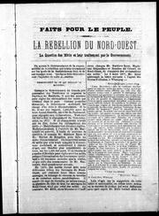 Cover of: La Rébellion du Nord-Ouest