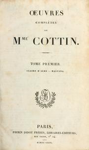 Cover of: Oeuvres complètes de Mme. Cottin.