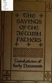 Cover of: The sayings of the Jewish fathers (Pirke aboth)
