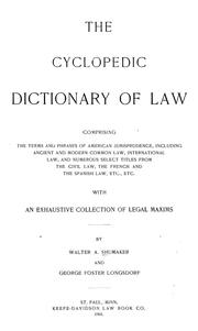 Cover of: The cyclopedic dictionary of law