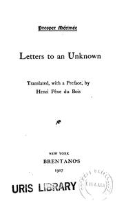 Cover of: Letters to an unknown