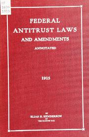 Cover of: The federal antitrust laws