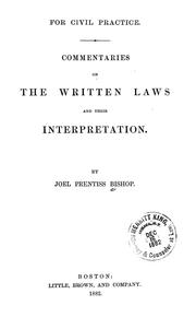 Cover of: Commentaries on the written laws and their interpretation