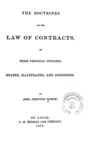 Cover of: The doctrines of the law of contracts