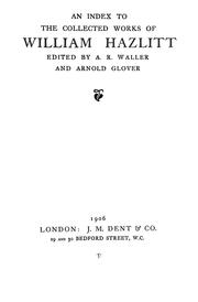 Cover of: An index to the Collected works of William Hazlitt