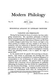 Cover of: Biological analogy in literary criticism