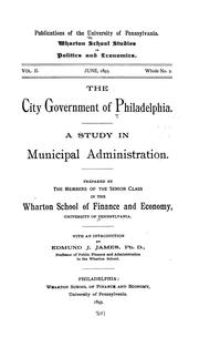 Cover of: The city government of Philadelphia