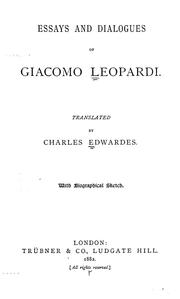 Cover of: Essays and dialogues of Giacomo Leopardi