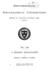 Cover of: A Herbert bibliography