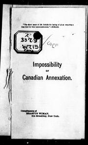 Cover of: Impossibility of Canadian annexation