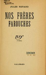 Cover of: Nos frères farouches.