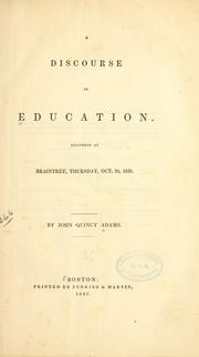 Cover of: A discourse on education