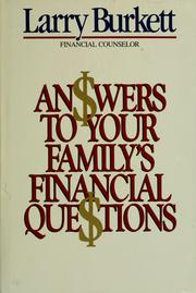 Cover of: Answers to your family's financial questions