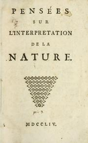 Cover of: Pensées sur l'interpretation de la nature