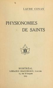Cover of: Physionamies de saints [par] Laure Conan.