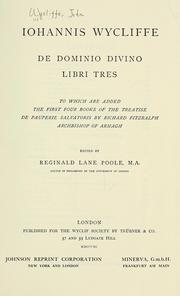 Cover of: De dominio divino libri tres
