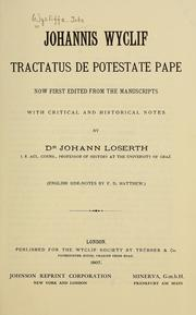 Cover of: Tractatus de potestate pape