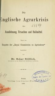 Cover of: Die englische Agrarkrisis