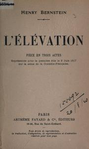 Cover of: L' élévation