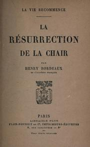 Cover of: La résurrection de la chair.