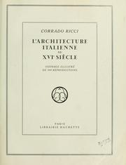 Cover of: L' architecture italienne au XVIe siècle
