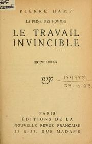 Cover of: Le travail invincible.