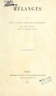 Cover of: Mélanges.