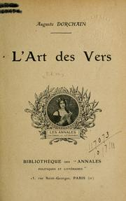 Cover of: L' art des vers.